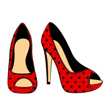 retro wear: vector beautiful pair of shoes with high heel Illustration