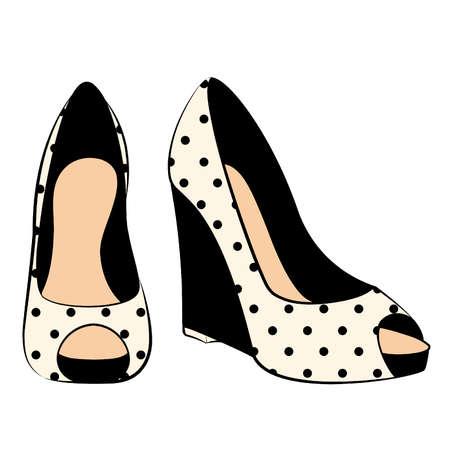 힐: 높은 뒤꿈치와 신발의 아름다운 쌍을 벡터 일러스트