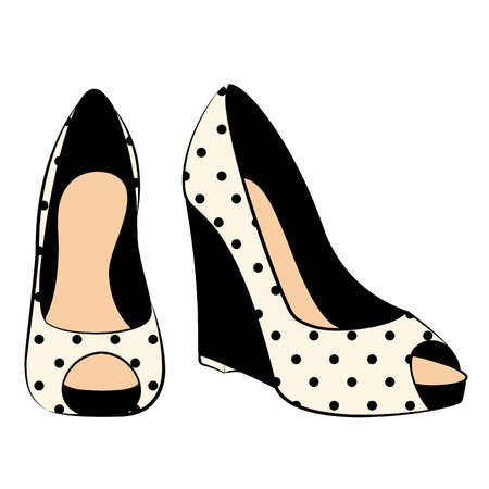 shoe: vector beautiful pair of shoes with high heel Illustration