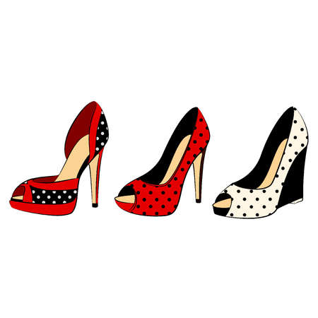 tall woman: Vector beautiful set of shoes with high heel