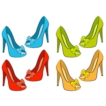 retro wear: Vector beautiful set of shoes with high heel