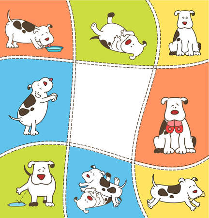 piebald: Set of cartoon dogs. Stock Photo