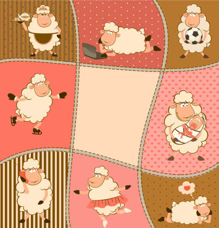 illustration of cartoon sheep  illustration