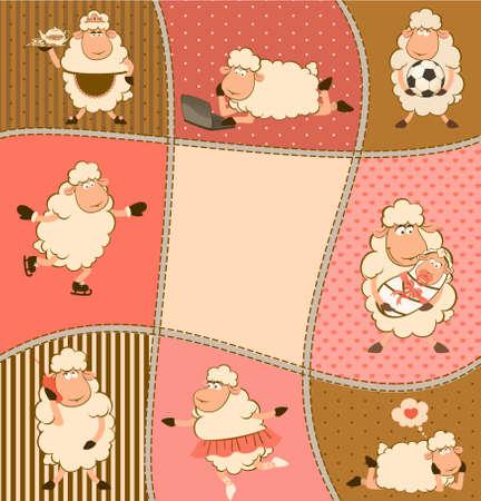 sheep love: illustration of cartoon sheep  Stock Photo