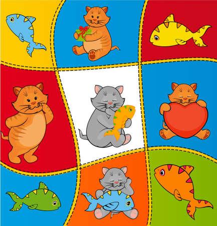 cat fish: cartoon little kitten with fish