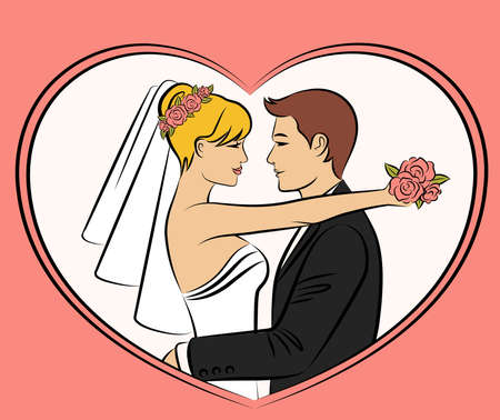 Illustration of beautiful bride and groom illustration