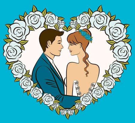 Illustration of beautiful bride and groom illustration