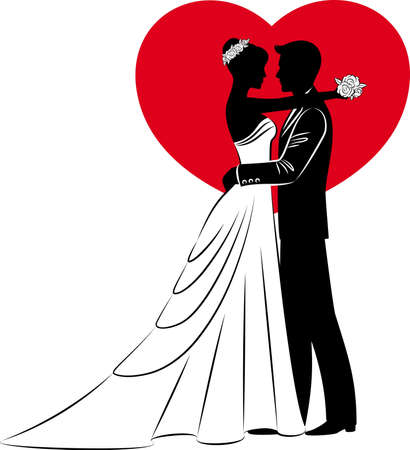 bride groom: Illustration of beautiful bride and groom Stock Photo