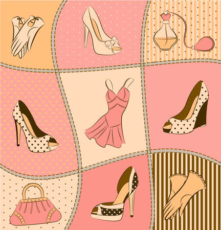 designer bag: Cartoon womans bag, perfume and shoes.  Stock Photo