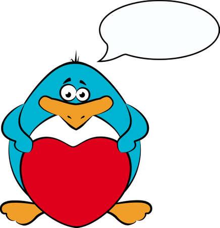 cartoon penguin with heart  photo