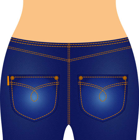 thighs: Womanish thighs are in jeans with pockets. Stock Photo