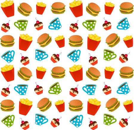 cheeseburger with the pack of french fries, sweet cupcake on white background photo