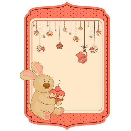 Vintage background with sweet cakes and rabbit Vector