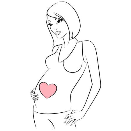 Beautiful pregnant girl. Vector Vector