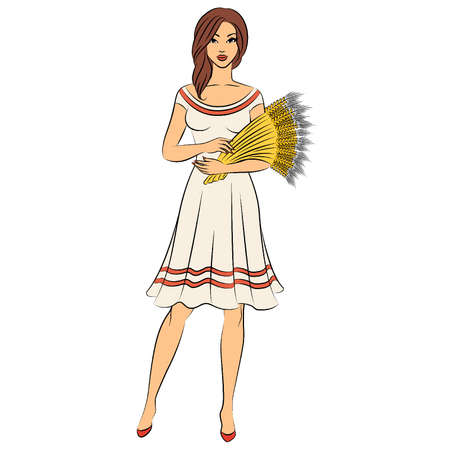 Beautiful girl with sheaf of wheat.  Stock Vector - 11104039