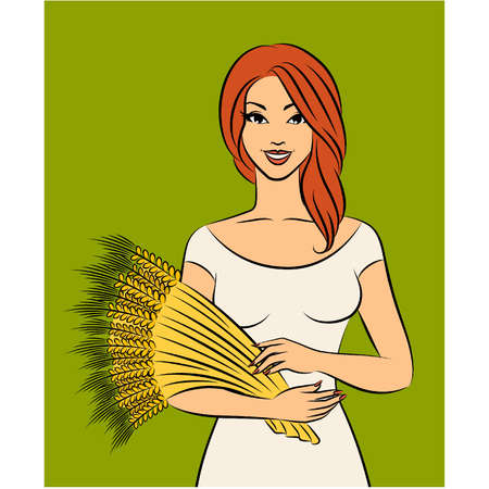 Beautiful girl with sheaf of wheat. Stock Vector - 11104021