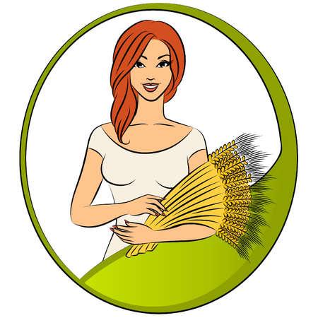 sheaf: Hermosa chica con la gavilla de trigo.