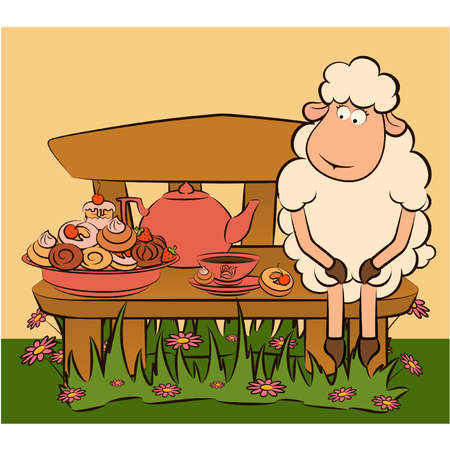cartoon sheep with sweet cakes and tea Vector