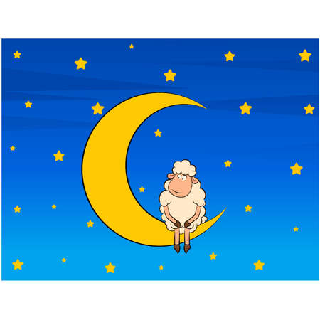 Illustration of cute sheep on moon Vector