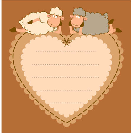 Illustration of cute sheep on the heart Vector
