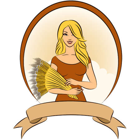 Beautiful girl with sheaf of wheat. Stock Vector - 11104020