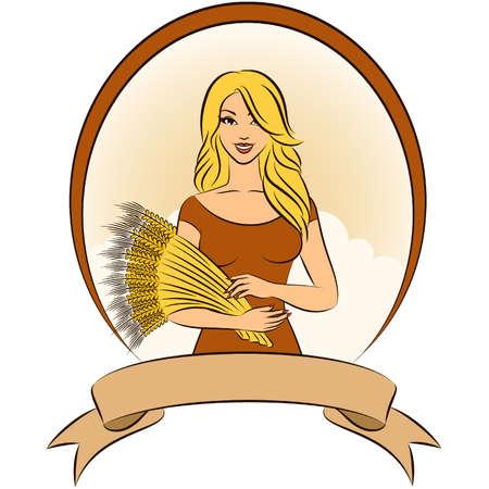 sheaf: Hermosa chica con gavilla de trigo.