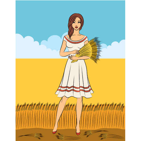 Beautiful girl with sheaf of wheat.  Stock Vector - 11104060