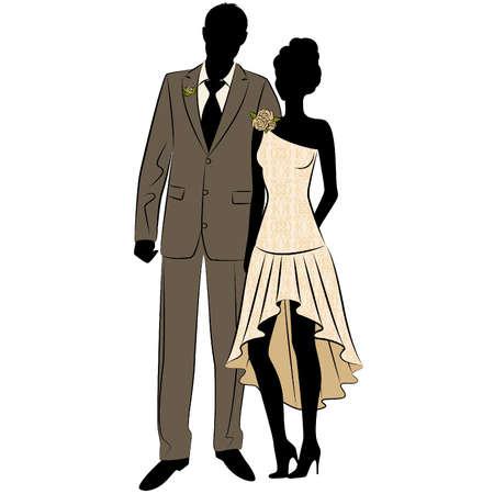 Illustration der schönen Braut und Bräutigam