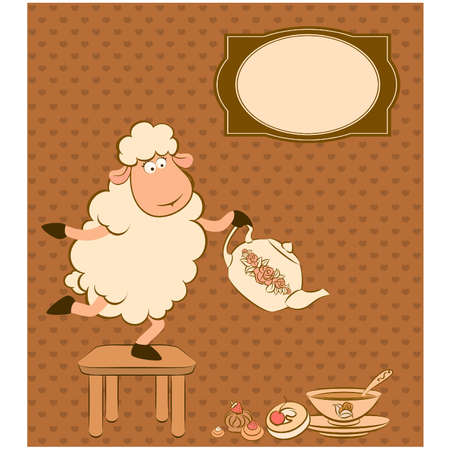 Vintage sheep with sweet cakes.  Vector