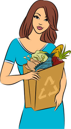 Girl with a shopping bag filled with healthy meal ingredients.  Stock Photo - 11104076