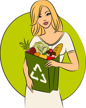 Girl with a shopping bag filled with healthy meal ingredients.  photo