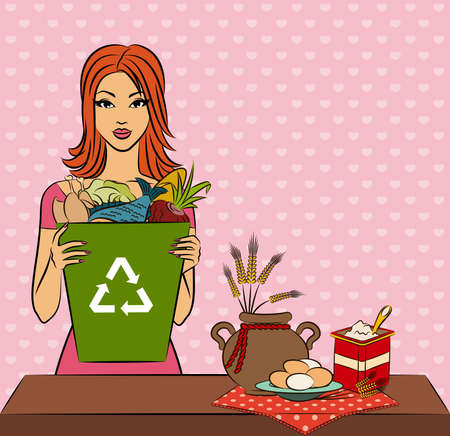 Beautiful girl with healthy meal ingredients. Stock Photo - 11104082