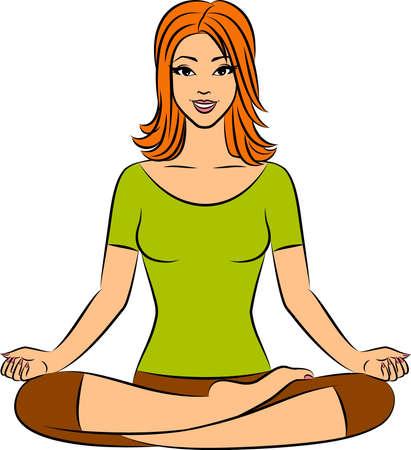 nirvana: Beautiful woman sitting in yoga lotus position.