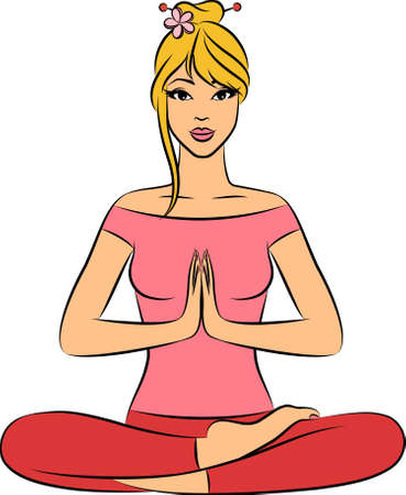 ashram: Beautiful woman sitting in yoga lotus position.