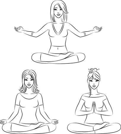 Beautiful girls sitting in yoga lotus position.  Stock Photo - 11104111