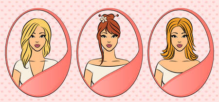 comb out: Set of women with hairstyle.