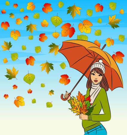 beautiful girl with autumn leaves and umbrella Stock Photo - 11104149