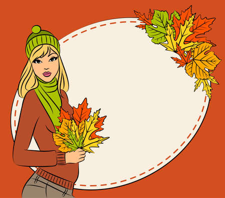 beautiful girl with autumn leaves Stock Photo - 11104137