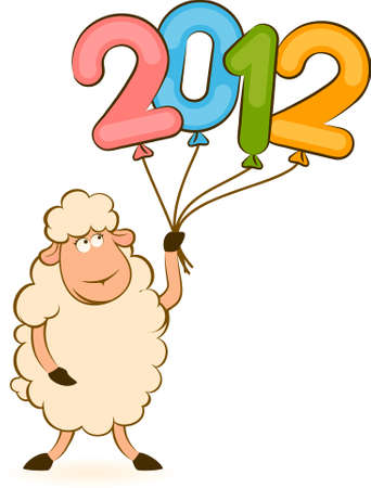 Cartoon funny sheep with 2012 balloons.  photo