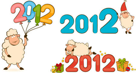 Cartoon funny sheep with numbers 2012 year.  photo