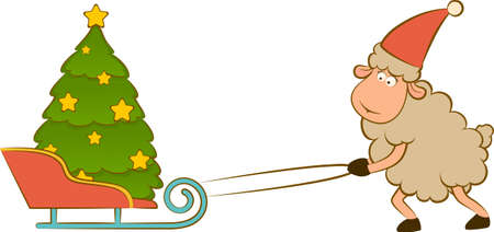 Cartoon funny sheep heaves up sledges with fir-tree. Stock Photo - 11280224