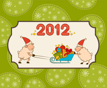 Cartoon funny sheep heaves up sledges with gifts.  Stock Photo - 11280260