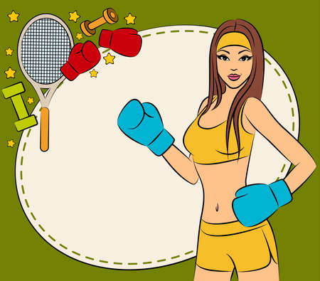 beautiful woman during fitness time and boxing photo