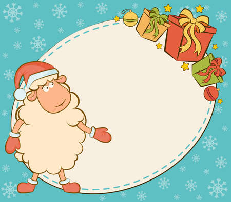 Cartoon funny sheep with gifts. photo