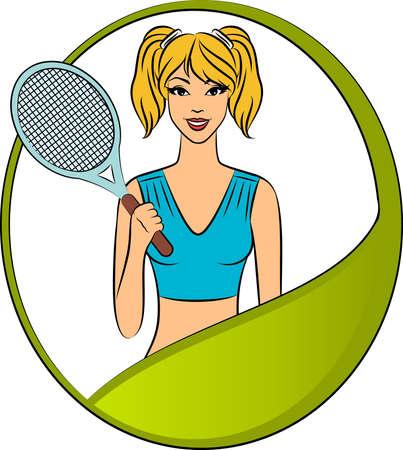 beautiful woman with tennis racket photo