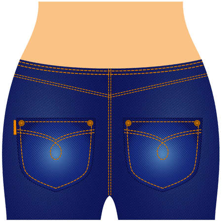 denim jeans: Womanish thighs are in jeans with pockets. Illustration