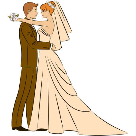 beautiful bride and grooms silhouette Vector