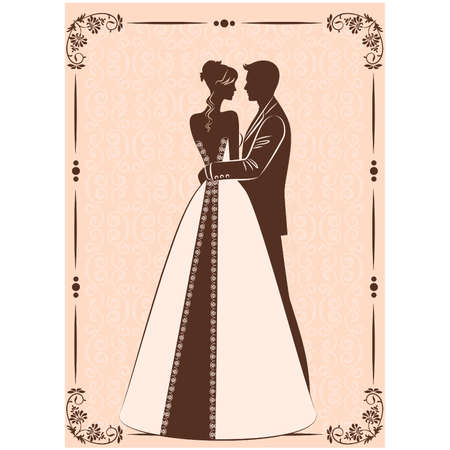 vector Illustration of beautiful bride and groom's silhouette Ilustração