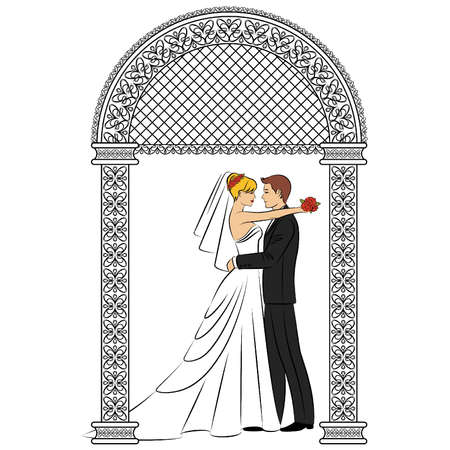 fiance: vector Illustration of beautiful bride and grooms silhouette