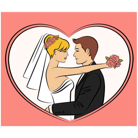 vector Illustration of beautiful bride and grooms silhouette Vector